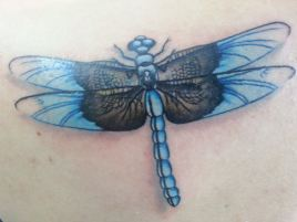 Blue dragonfly tattoo