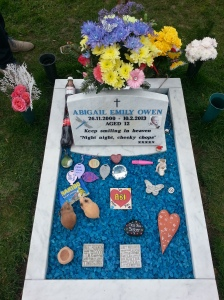 Abi's finished memorial stone